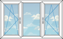 изображение трехстворчатого окна с подвижными 2 створками