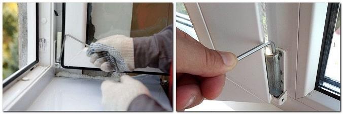 фото процесса регулировки пластиковых окон